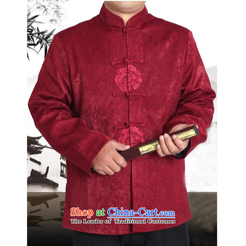 The spring and autumn in New Tang Tang dynasty older men and a long-sleeved national costumes men Tang Dynasty Men's Jackets 13165 aubergine�165 T-Shirt