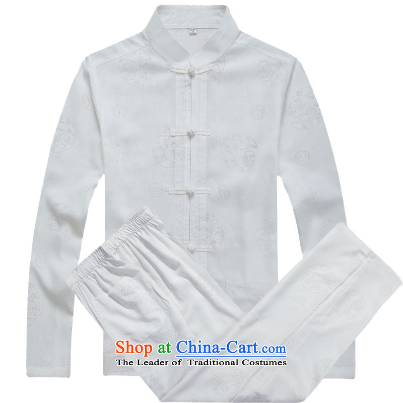 Mr Ma urban 2015 autumn and winter Tang long-sleeved jacket men cotton linen in Tang Dynasty Akio older father boxed long-sleeved jacket and white casual Chinese tunic_Bundle聽XXL