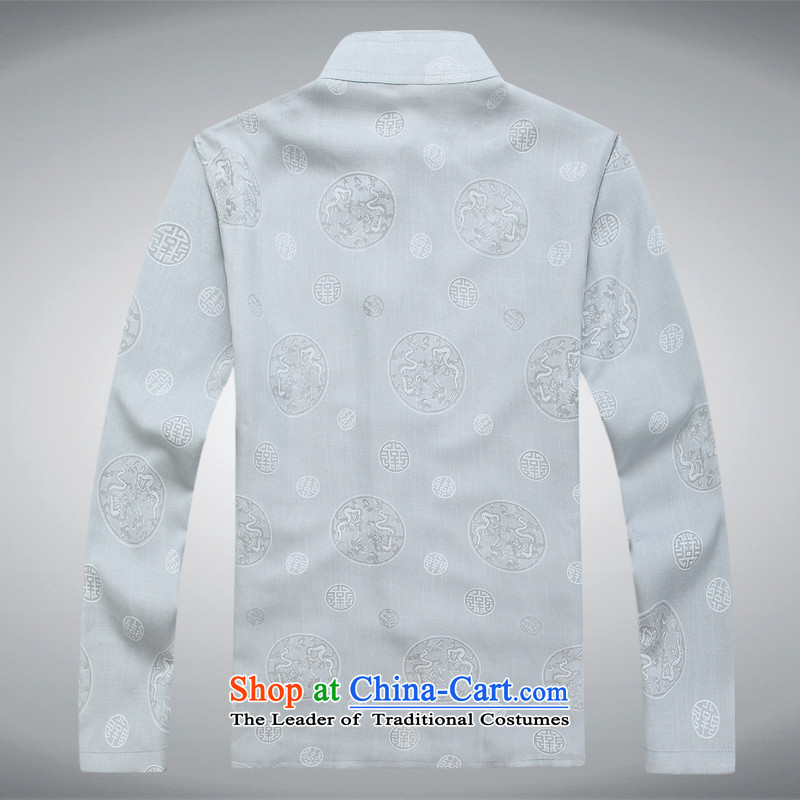 Mr Ma urban 2015 autumn and winter Tang long-sleeved jacket men cotton linen in Tang Dynasty Akio older father boxed long-sleeved jacket and white casual Chinese tunic/Bundle聽XXL, LO PRINCESS (ROLMACITY urban shopping on the Internet has been pressed.)