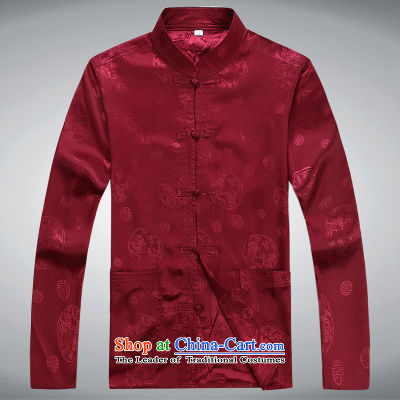 Mr Ma urban 2015 autumn and winter Tang long-sleeved jacket men herbs extract Tang Dynasty Akio elderly father boxed long-sleeved jacket leisure red / Chinese tunic kit聽XXL, LO PRINCESS (ROLMACITY urban shopping on the Internet has been pressed.)