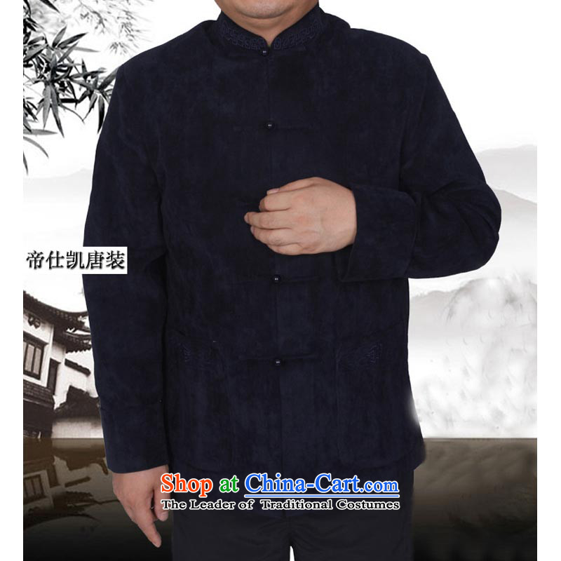 The elderly in the new spring and autumn Tang dynasty male national costumes older leisure autumn and winter coats ?t��a replacing?spring and autumn, Blue 190/ 1.144