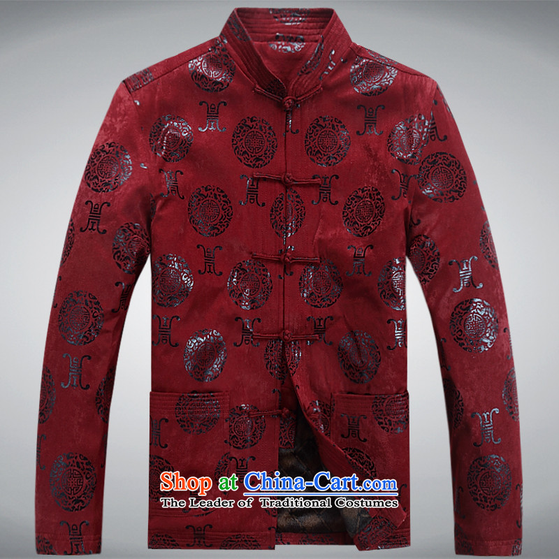 Mr Ma urban 2015 Fall/Winter Collections of men thick warm coat in the Tang dynasty men older robe Tang dynasty thick winter jackets leisure father boxed BOURDEAUX?XL