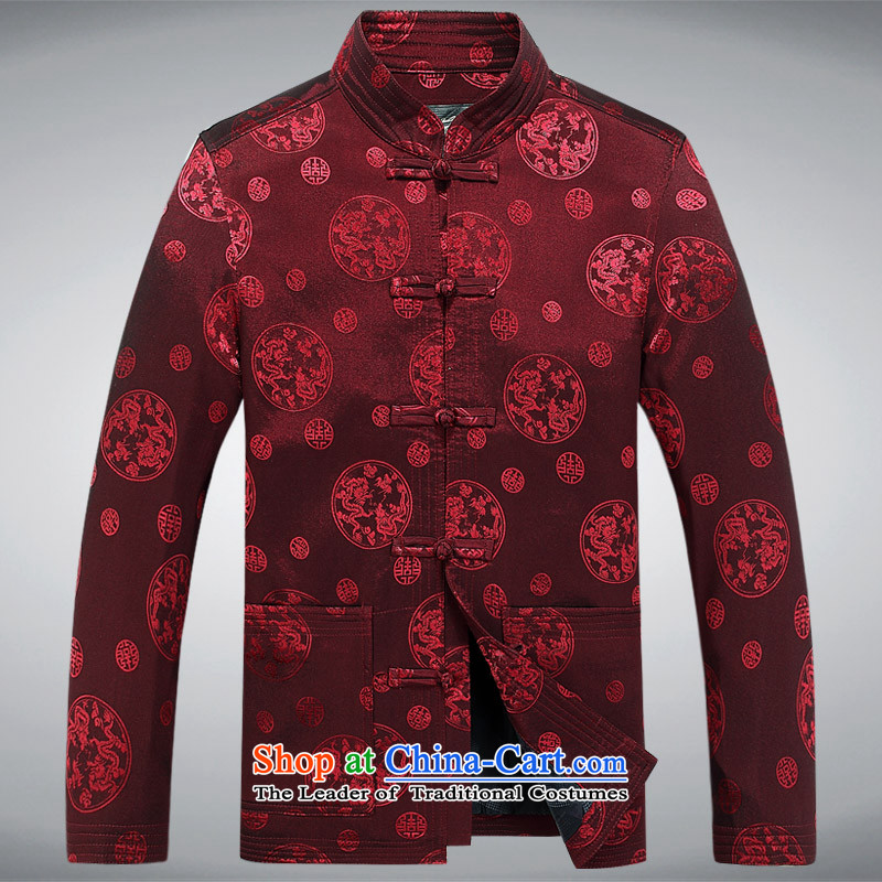 Mr Ma urban 2015 autumn and winter New Men Tang jacket male in Chinese tunic older dad long-sleeved replacing Tang dynasty herbs extract autumn leisure jacket red�XL