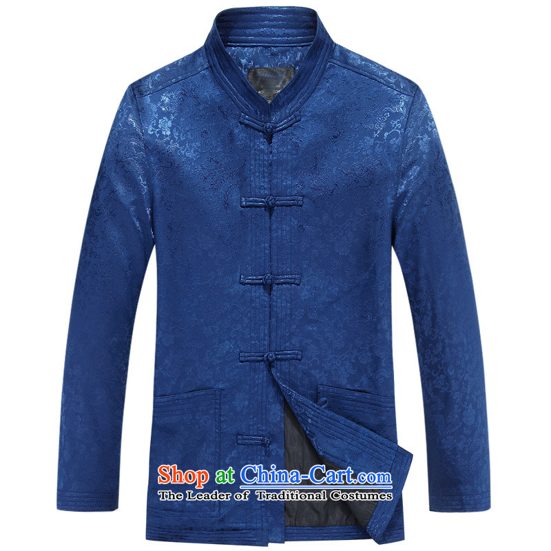 Mr Ma urban 2015 autumn and winter Tang long-sleeved jacket men herbs extract Tang Dynasty Akio elderly father boxed long-sleeved jacket blue聽XXXXL_190 Chinese tunic Leisure