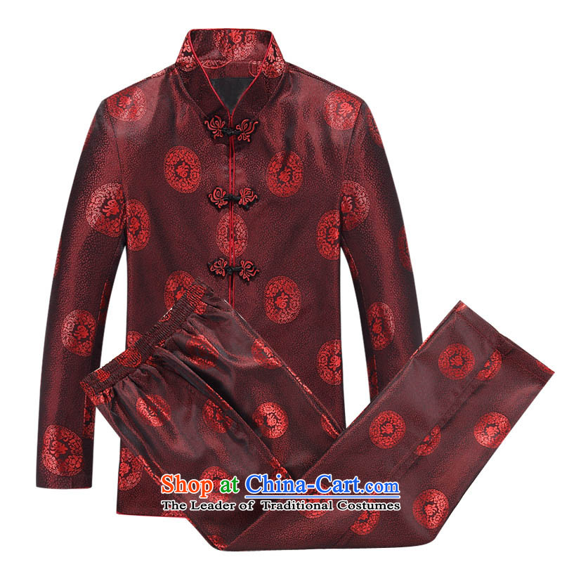 Mr Ma urban 2015 autumn and winter Tang long-sleeved jacket men herbs extract Tang Dynasty Akio elderly father boxed long-sleeved jacket leisure red / Chinese tunic Kit 170/MEN
