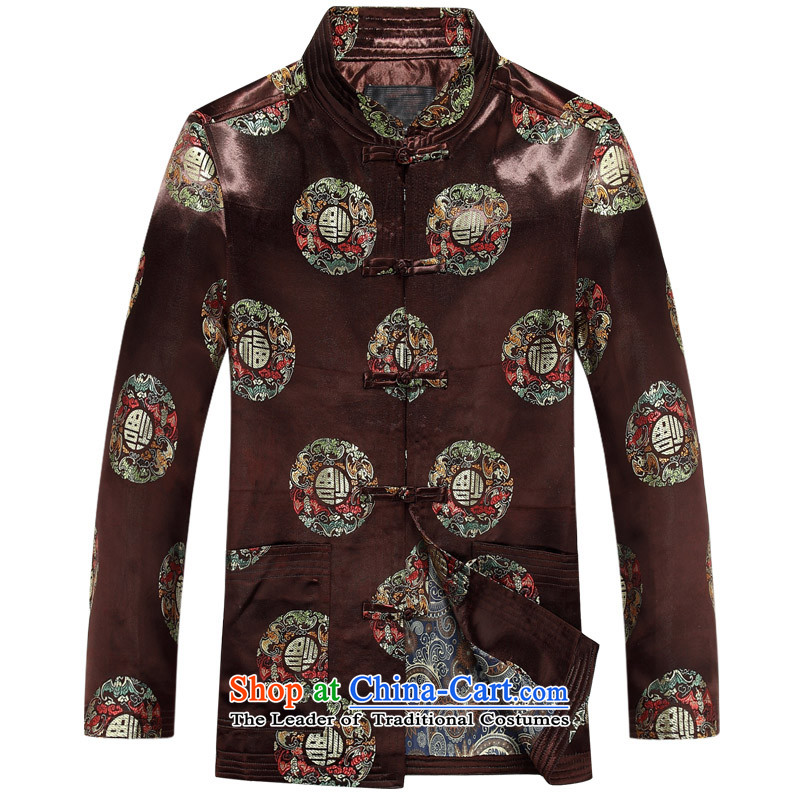 Mr Ma urban 2015 autumn and winter Tang long-sleeved jacket men herbs extract Tang Dynasty Akio elderly father boxed long-sleeved jacket coffee-colored Chinese tunic leisure燲XL_180