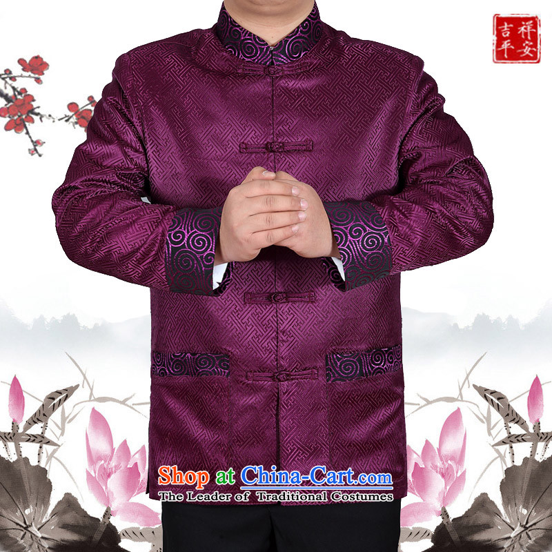 Mr Ma urban 2015 autumn and winter New Men Tang jacket male in Chinese tunic older dad long-sleeved replacing Tang dynasty silk jackets aubergine燲XL autumn Leisure