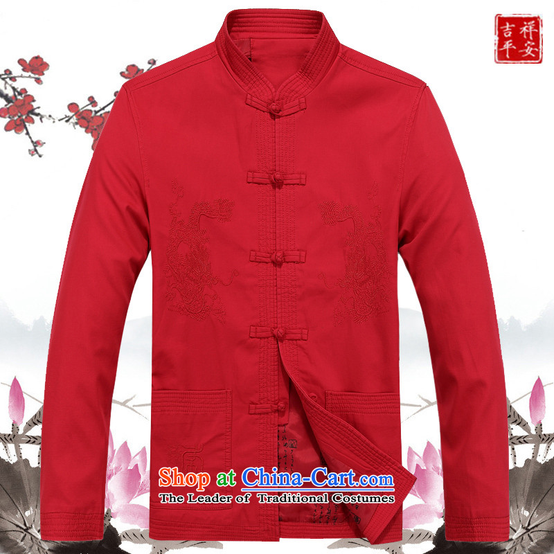 Mr Ma urban 2015 autumn and winter Tang long-sleeved jacket men cotton linen in Tang Dynasty Akio older father boxed long-sleeved jacket Male Red Chinese tunic leisure聽L_175