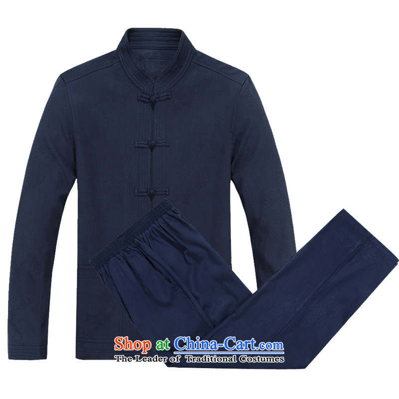 Mr Ma urban 2015 autumn and winter men long-sleeved Tang dynasty male kit herbs extract Tang dynasty long-sleeved jacket for older Chinese tunic leisure father Mount Kit Blue_Bundle聽XXXL