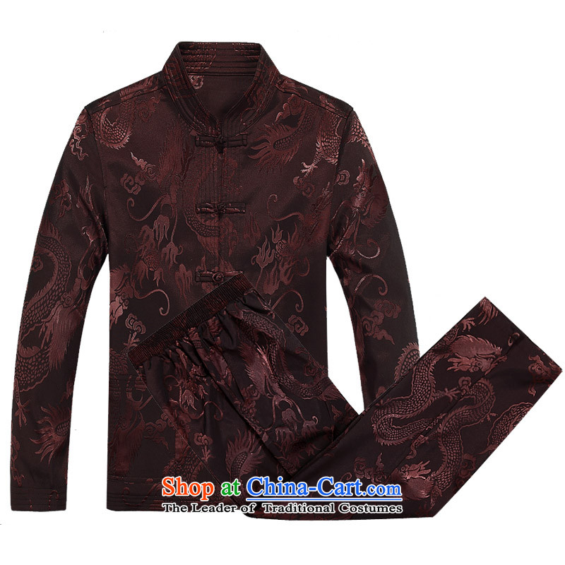 Mr Ma urban 2015 autumn and winter Tang long-sleeved jacket men herbs extract Tang Dynasty Akio elderly father boxed long-sleeved jacket and coffee lounge Chinese tunic color_Bundle燲XL