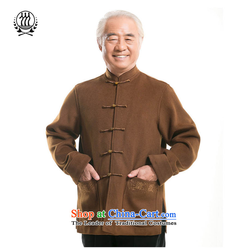 The new man China wind construction? the elderly in the Cuff gross autumn and winter coats stylish Tang dynasty ethnic Men's Mock-Neck disc? Gross deduction for autumn and winter by long-sleeved shirt F7719燣_175 Brown
