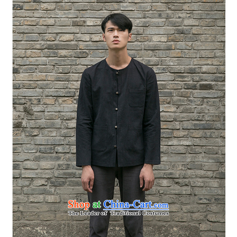 Reported Choi original Chinese men and young and middle-aged relaxd linen  Solid color no neck shirt retro Tang installed China Elegance Road T-shirt Black聽XL