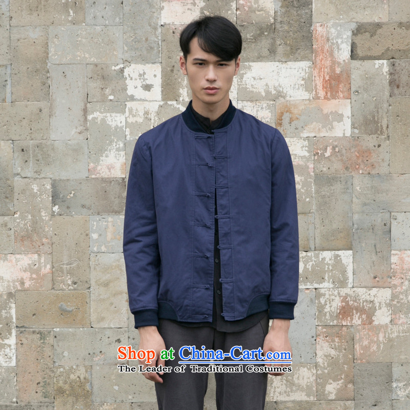 With the fall of the fiscal reported replace original design of China wind retro Tang jacket men pure cotton pad detained baseball uniform jacket male and Navy聽S