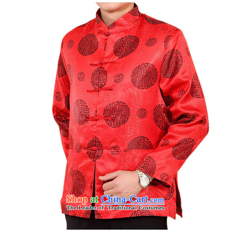 Bosnia and the elderly in the line thre men winter new father replacing Chinese ethnic costumes men's older persons Tang dynasty long-sleeved shirt China wind Park Hee-red?M/170 Auspicious Emblems