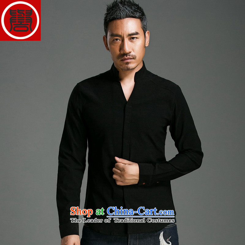 Renowned China wind men Tang dynasty male Han-long-sleeved shirt linen solid color men fall cotton linen clothes and black聽XXXL Shirt