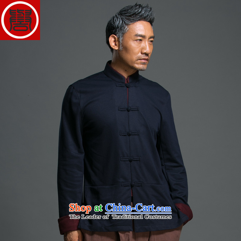 Renowned Chinese Wind and loose autumn Tang dynasty long-sleeved male Han-taxi Chinese collar national tray clip jacket improved Han-blue聽L