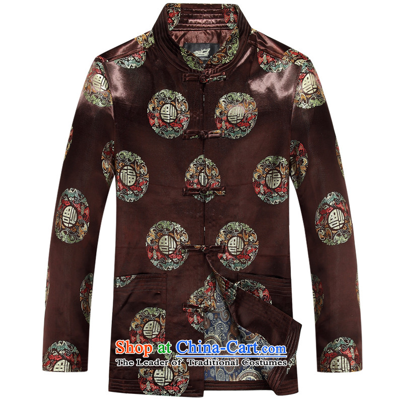 The autumn and winter, aeroline Tang dynasty men's long-sleeved father brown jacket in older?170