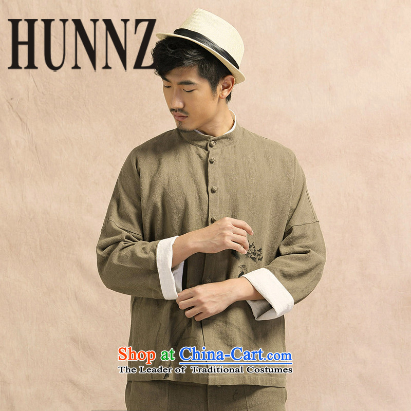 Tang dynasty China wind HUNNZ long-sleeved shirt jacket men linen leisure Chinese Han-cotton linen simple blouse Chinese tunic Army Green?175