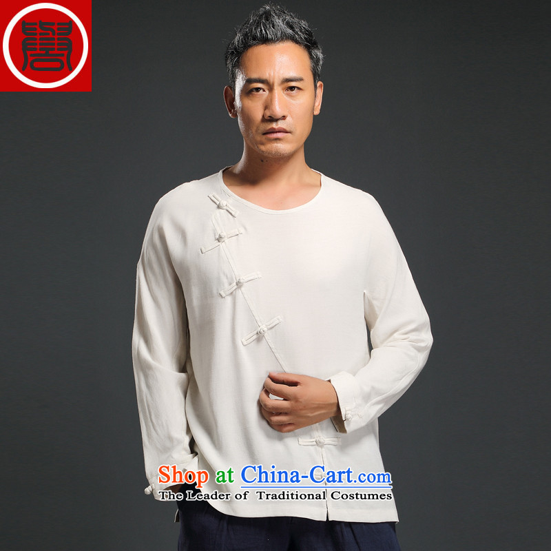 Renowned China wind loading new retro autumn men's Sau San ethnic long-sleeved T-shirt linen Han-tray clip White聽4XL
