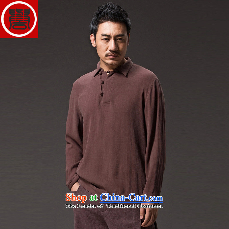 Renowned Tang dynasty China wind lapel of long-sleeved T-shirt men stylish Chinese Han-disk-Sau San leisure clothes men's coffee燲XXL