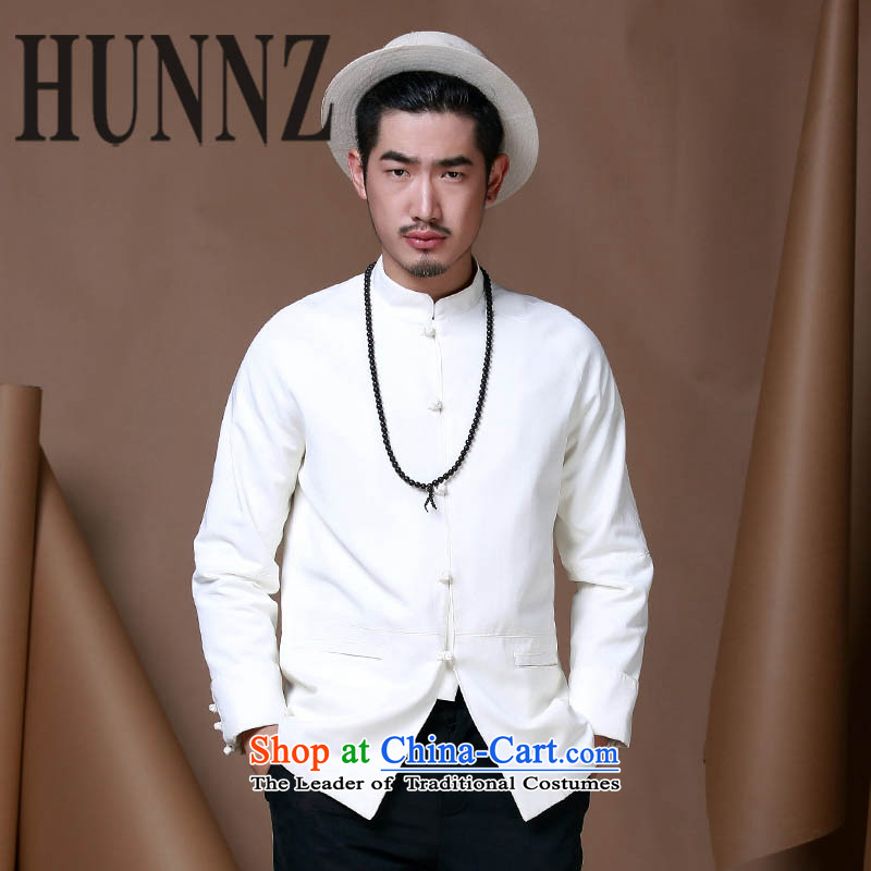 Hunnz men of Chinese tunic Neck Jacket trendy long-sleeved tray clip Chinese men China wind cotton linen and Tang dynasty white聽185