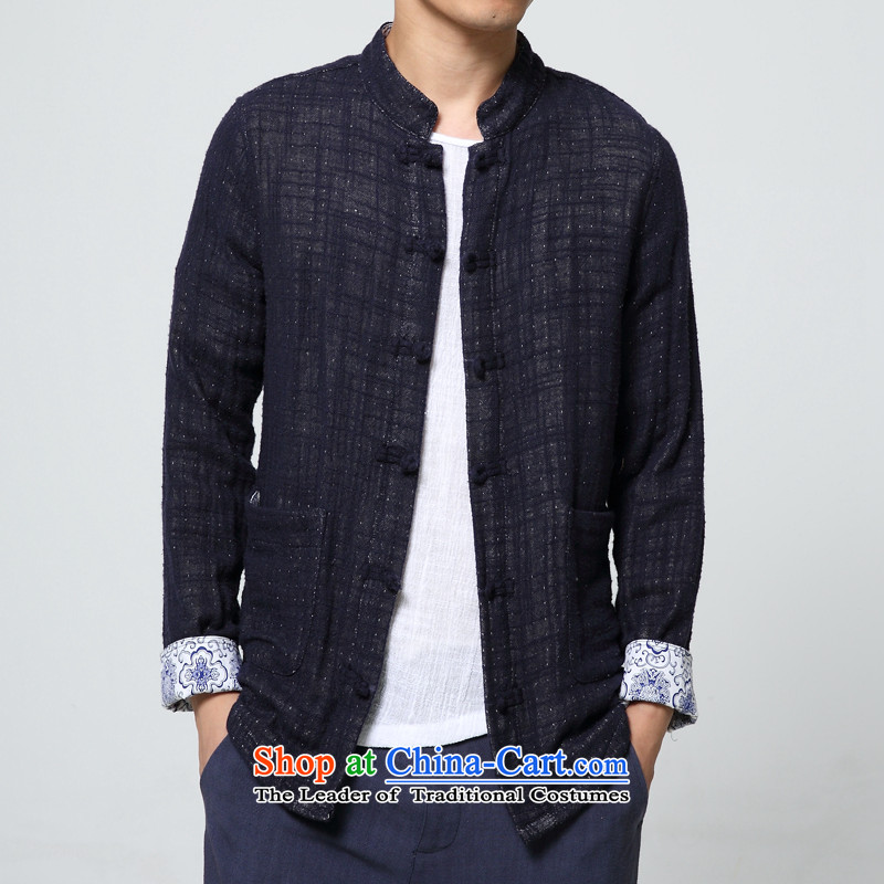 Surplus�by 2015 autumn and winter thick New China wind Men's Mock-Neck pure linen coat navy�M