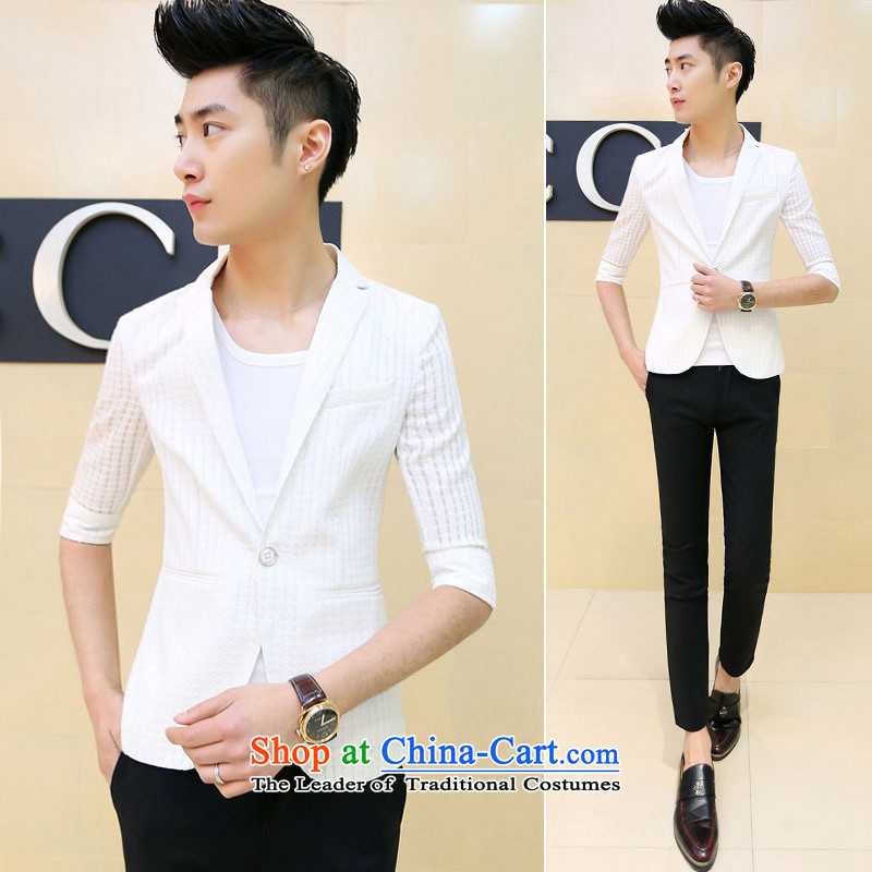 Dan Jie Shi� 2015 Spring/Summer male and small business suit in cuff Sau San 7 cuff hairdresser men are small casual suits the spring and summer of 2015, the new white�2XL