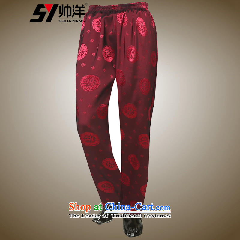 The Ocean 2015 Autumn Load Shuai New China Wind Pants men Tang Chinese national dress pants loose-wine red?175