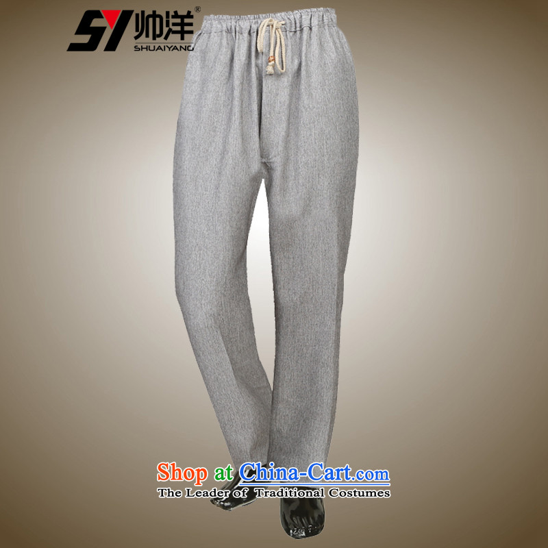 The new 2015 Yang Shuai men Tang pants linen pants relaxd casual male Chinese elastic waist comfort ma gray?175