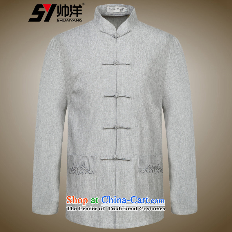 The Ocean 2015 Autumn Shuai new of Chinese Tang dynasty long sleeved shirt collar China wind linen clothes Ma?170 gray shirt