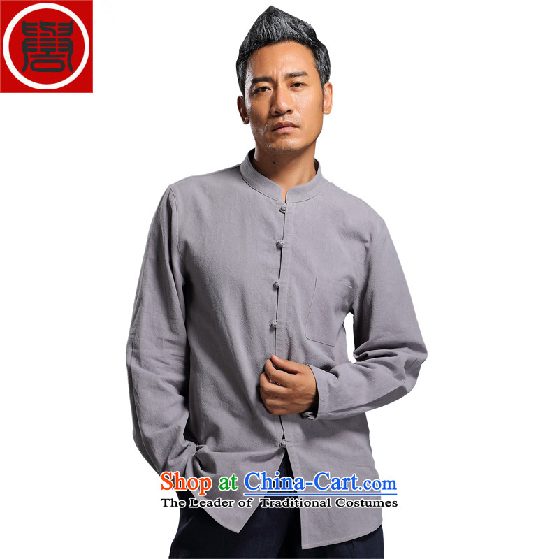 Renowned linen shirt men Tang dynasty and loose autumn shirts China wind Han-men linen long-sleeved sweater shirt燲XXL Light Gray