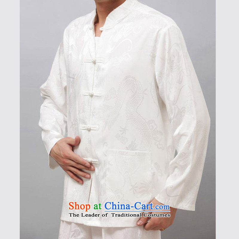 Thin line of Bosnia and thre men Tang Dynasty Large Dragon long-sleeved Kit China wind Men's Mock-Neck Kung Fu Tai Chi in older thin, long-sleeved white燤_170 Kit