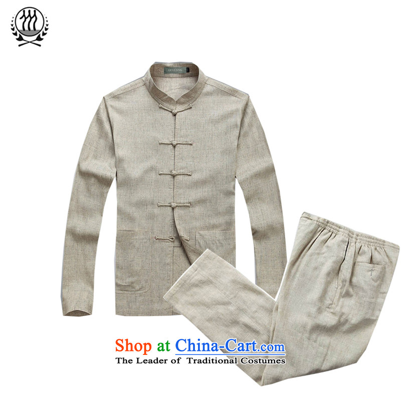 China wind men Tang dynasty long-sleeved kit male Han-cotton linen long-sleeved Kit Chinese collar manually disc detained men on cotton linen cuff kit multi-colored beige?XXXL/190 Optional