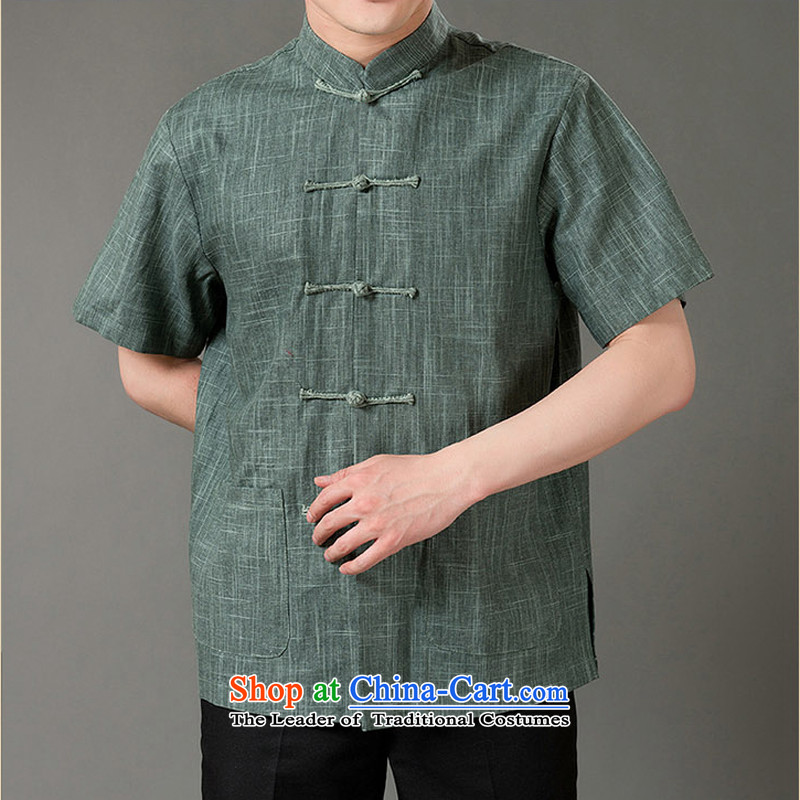 Bosnia and new summer line thre cotton linen men short-sleeved T-shirt men cotton linen leisure short-sleeved T-shirt of ethnic Chinese collar disc clip cotton linen short-sleeved T-shirt with green?XXL/185 Dad
