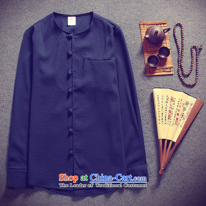 Dan Jie Shi 2015 new long-sleeved shirt China wind men Sau San leisure long-sleeved shirt navy?XXXL