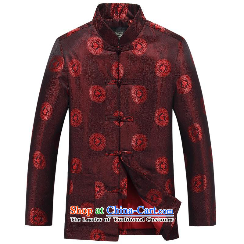 The autumn and winter, aeroline Tang dynasty men's long-sleeved jacket in both the father of older deep red?190