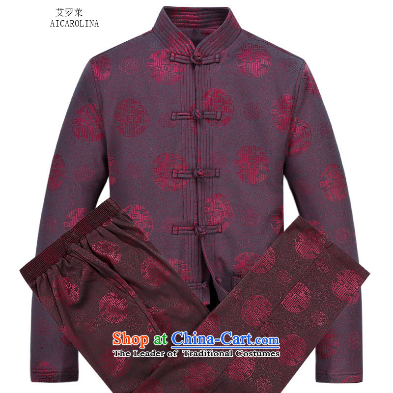 Hiv Rollet Men long-sleeved thick kit autumn and winter new products in Chinese tunic collar older Tang Dynasty Package red kit?M