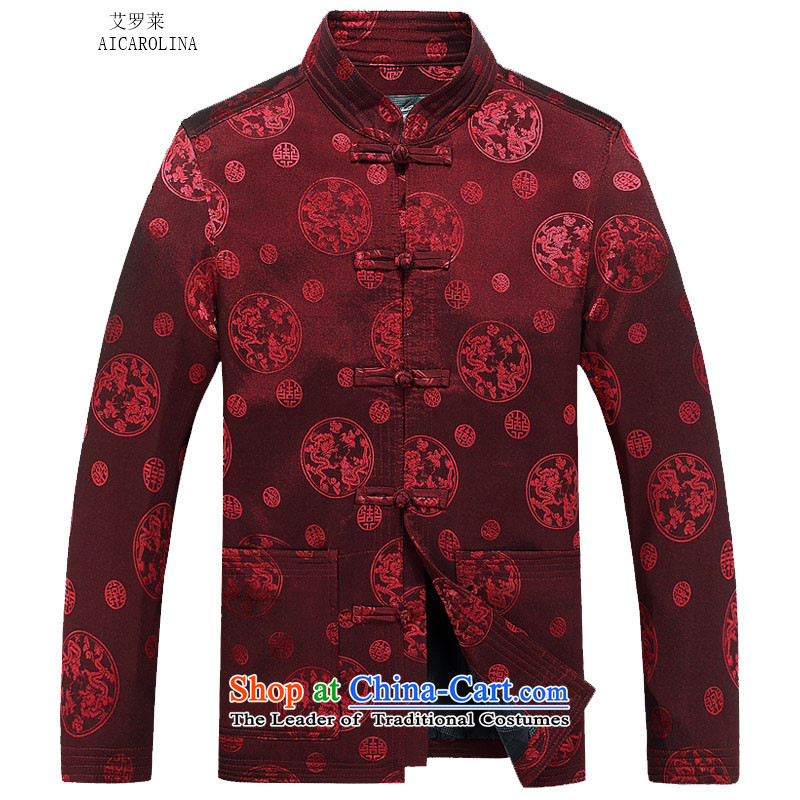Hiv Rollet autumn and winter long sleeve jacket thick kit for larger Chinese people wearing thin jacket with father jacket grandfather red聽XXL