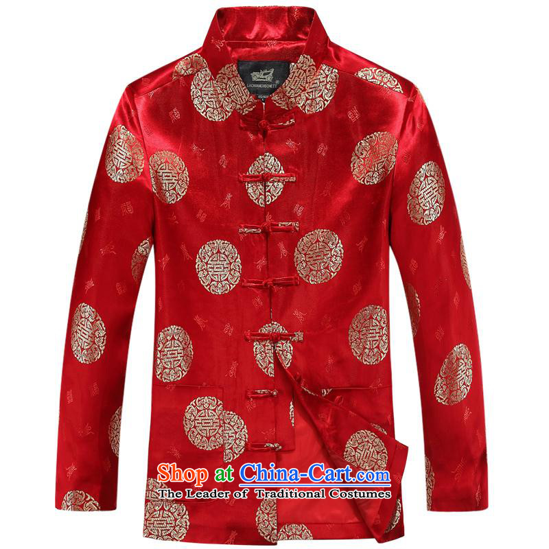 The autumn and winter, aeroline Tang dynasty men's long-sleeved jacket in both the father of older Red�175