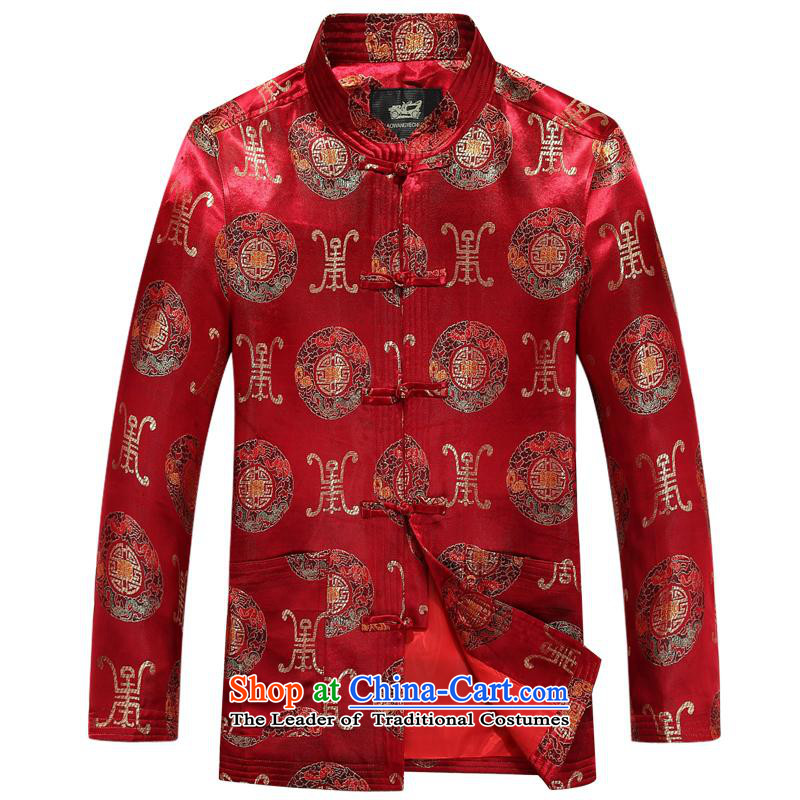 The autumn and winter, aeroline Tang dynasty men's long-sleeved father in older red jacket?190