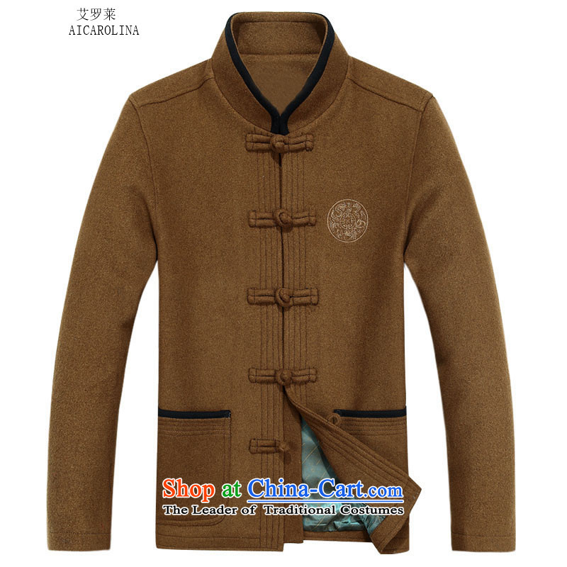 Hiv Rollet autumn and winter men in Tang Dynasty older a national Wind Jacket Tang yellow earth?XL