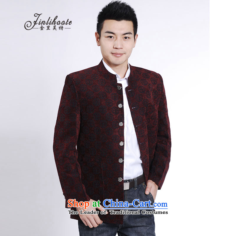 In聽2015, the annual golden autumn, the major new code men aged leisure jacket collar Tang jackets men聽185 red T-Shirt