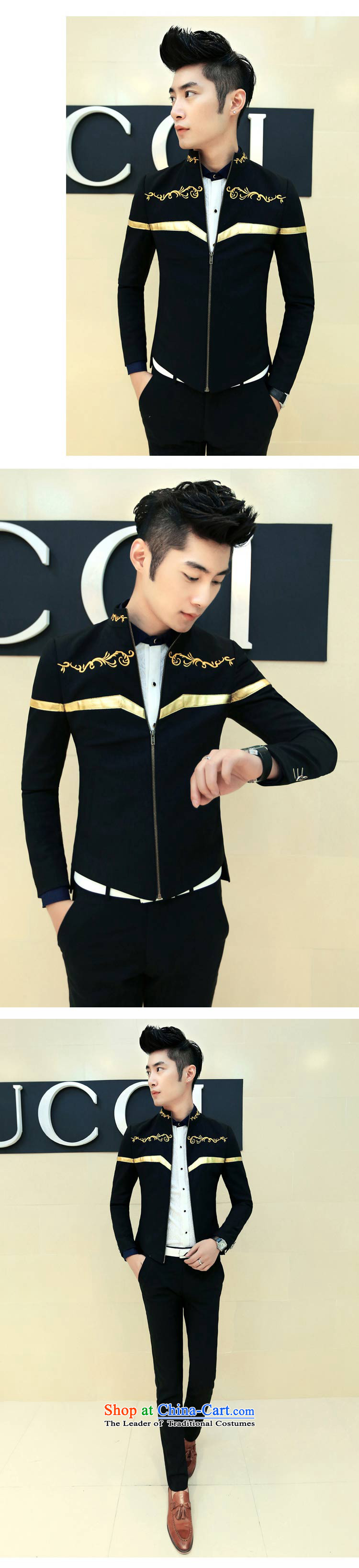 Spring 2015 the new Korean men casual embroidery collar jacket XZ08 BLUE XL Photo, prices, brand platters! The elections are supplied in the national character of distribution, so action, buy now enjoy more preferential! As soon as possible.