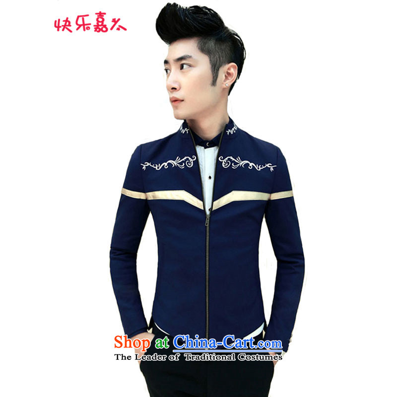 Spring 2015 the new Korean men casual embroidery collar jacket XZ08 BLUE?XL
