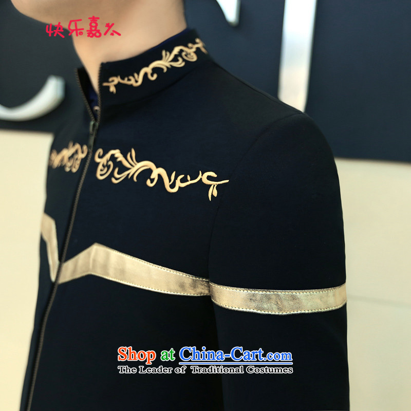 Spring 2015 the new Korean men casual embroidery collar jacket XZ08 BLUE XL, Happy Corsican was shopping on the Internet has been pressed.