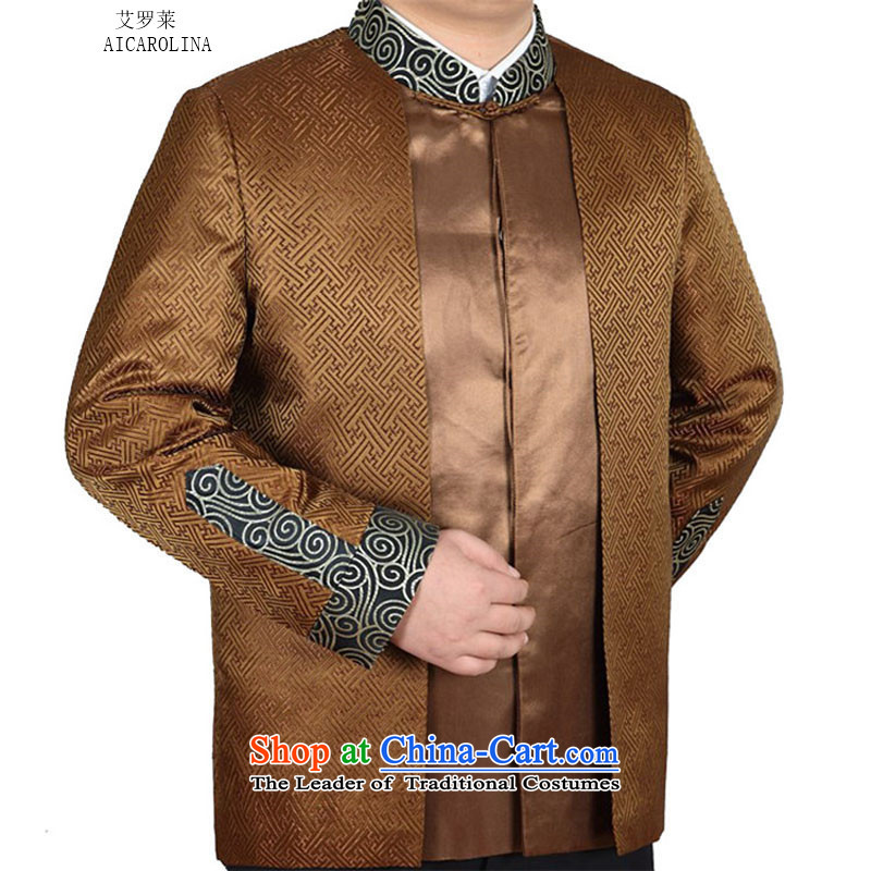 Hiv Rollet spring and autumn in new stylish replacing older father replace collar jackets and stamp Tang Ho Kim燲XL