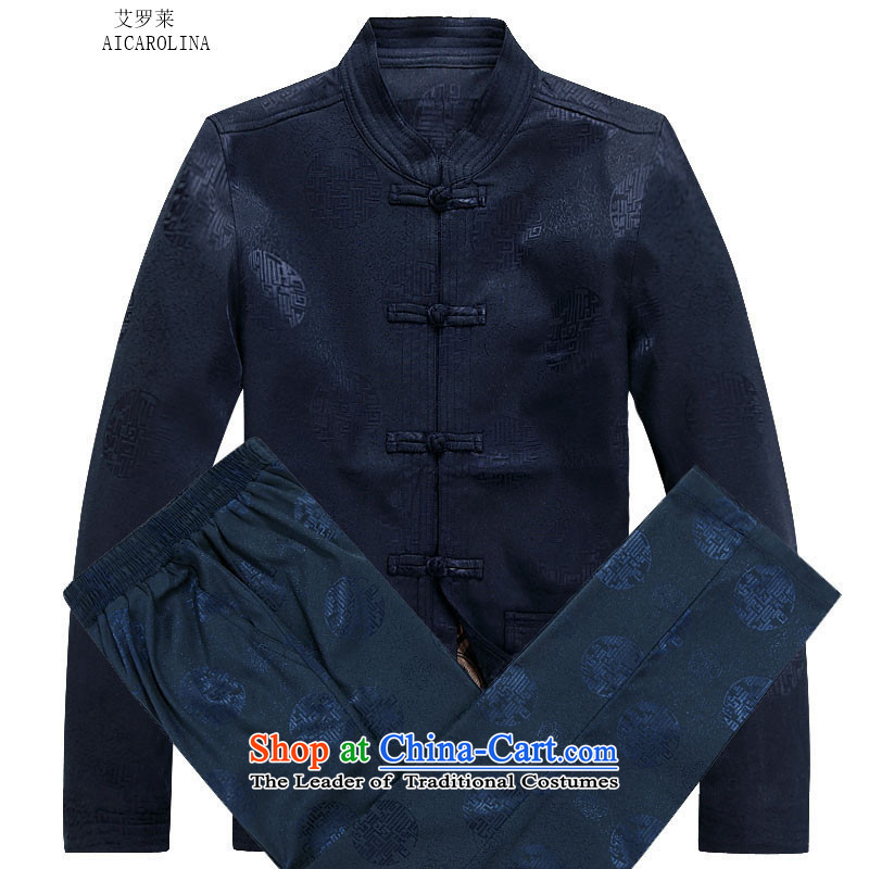 Hiv Rollet spring and autumn_, Tang dynasty older men and packaged men Chinese thick jacket of older persons in long-sleeve sweater in Tang Dynasty Han-dark blue packaged聽XXL