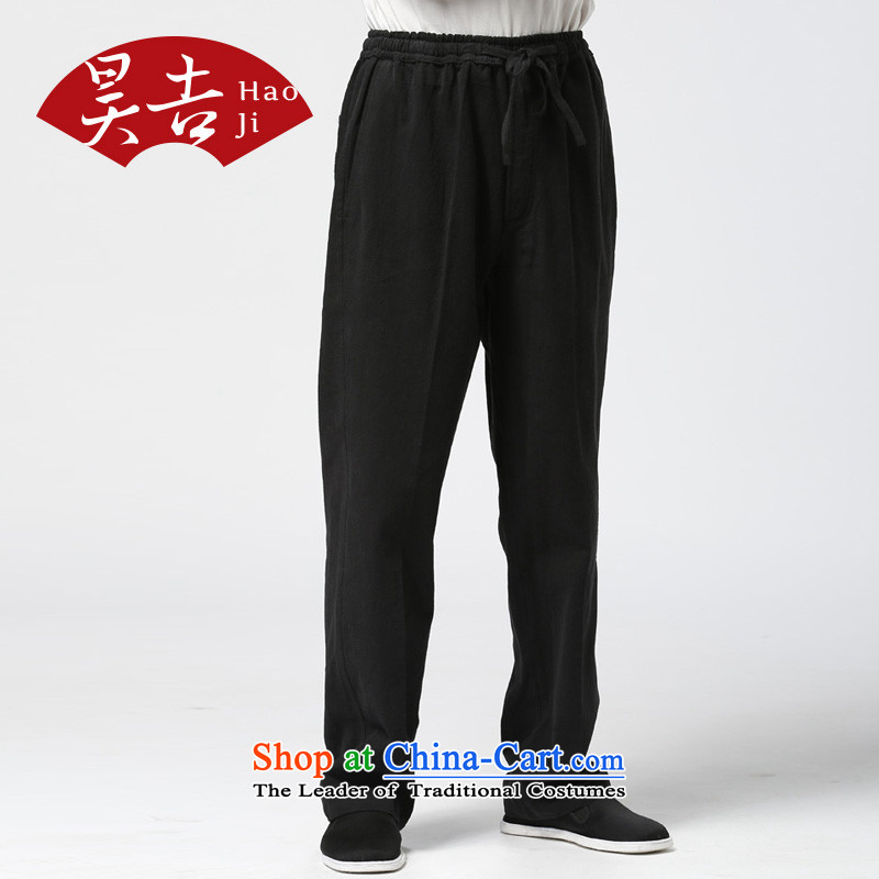 Ho Chi 2015 autumn in older men cotton linen trousers China Wind Pants and Tang Chinese cotton linen pants and black 175