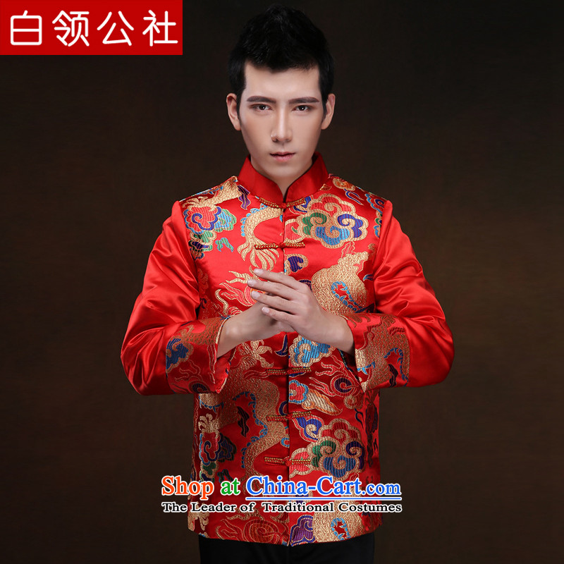 White-collar corporation men Soo-wo service of the bridegroom bows Soo kimono Chinese marriage long-sleeved dresses winter red Chinese tunic Xiangyun embroidery Tang dynasty ancient ethnic costumes red?XL