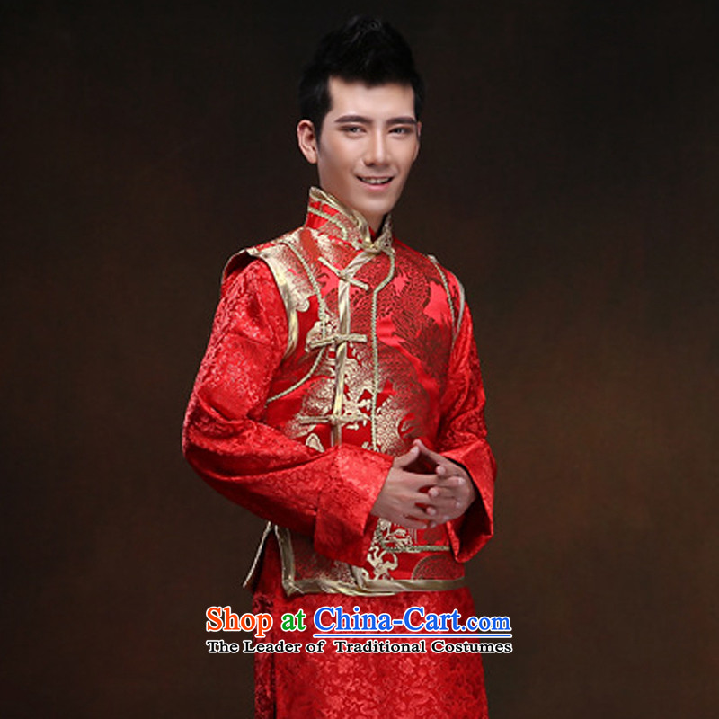 White-collar corporation men Soo-wo service Tang dynasty China wind the bridegroom Chinese Antique ethnic men married to show the happy dress bows and Han-soo-wo service men and Chinese Dragon Men show services聽XL, white-collar workers wo Corporation , ,